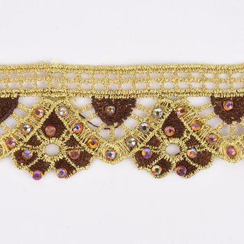 Goldband Glitzerband Strasssteinchen gold braun Breite: 3,7cm – Bild 2