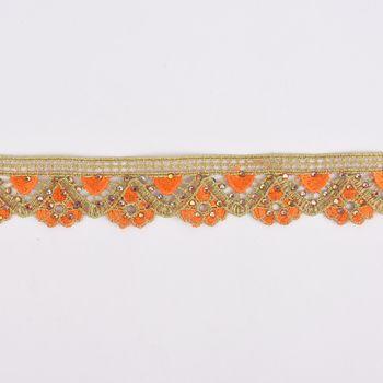 Goldband Glitzerband Strasssteinchen gold orange Breite: 3,7cm – Bild 1