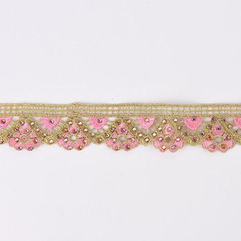 Goldband Glitzerband Strasssteinchen gold rosa Breite: 3,7cm – Bild 1