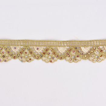 Goldband Glitzerband Strasssteinchen gold beige Breite: 3,7cm – Bild 1