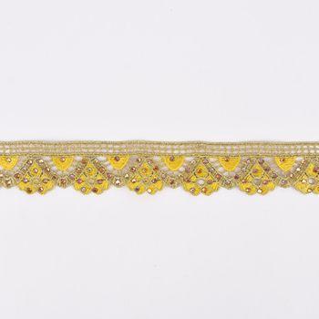 Goldband Glitzerband Strasssteinchen gold gelb Breite: 3,7cm – Bild 1