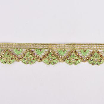 Goldband Glitzerband Strasssteinchen gold hellgrün Breite: 3,7cm – Bild 1