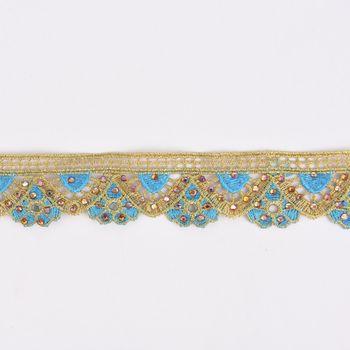 Goldband Glitzerband Strasssteinchen gold hellblau Breite: 3,7cm – Bild 1