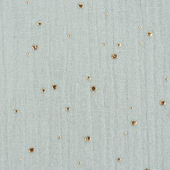 Bekleidungsstoff Double Gauze Musselin Punkte hell mint gold 1,4m Breite – Bild 3