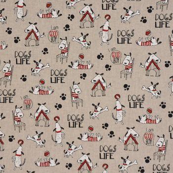 Gardinenstoff Stoff Dekostoff Halbpanama Hunde Dogs Life natur weiß rot 1,40m Breite – Bild 2