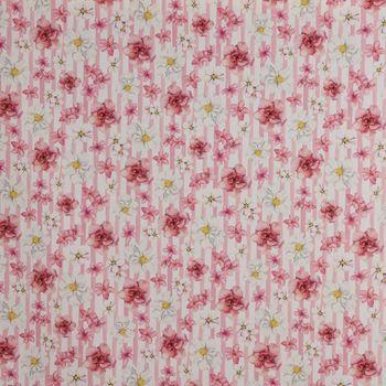 59f86c1cd9 Gardinenstoff Baumwollstoff Dekostoff Digitaldruck Blumen Blüten Streifen  rosa weiß 1,40m Breite