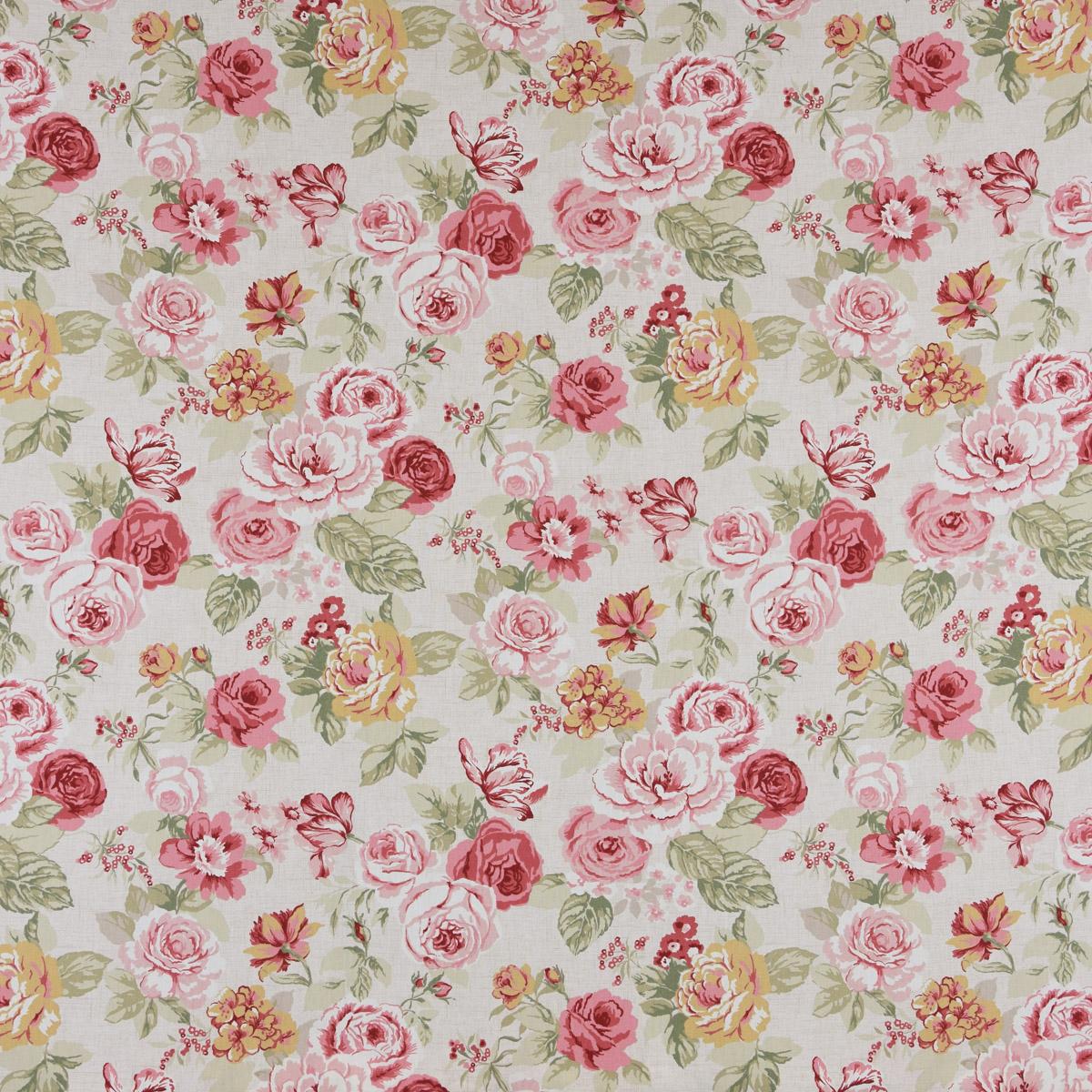 Clarke & Clarke STUDIO G Englischer Dekostoff Baumwollstoff Polsterstoff Blumen Rosen beige grün rot 137cm Breite