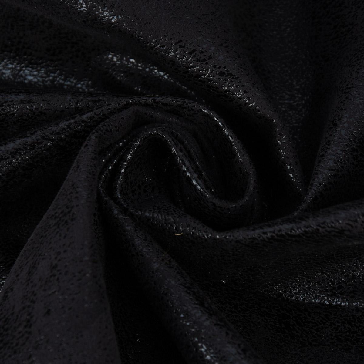 Kunstleder Lederimitat Wildlederoptik Hochglanz schwarz 1,4m Breite