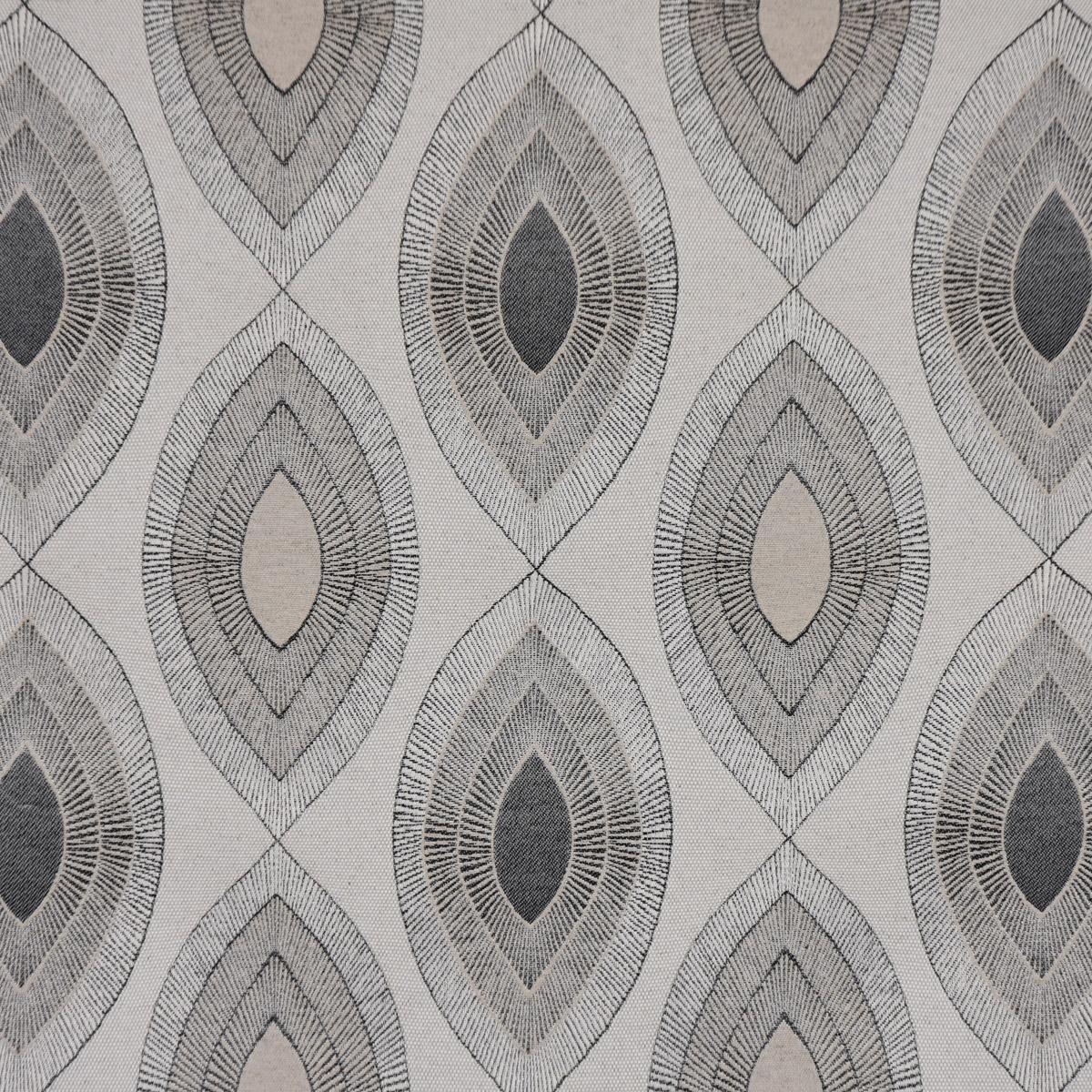 Dekostoff Jacquard Wendestoff Leinen Blätter geometrisch ecru schwarz 2,8m Breite