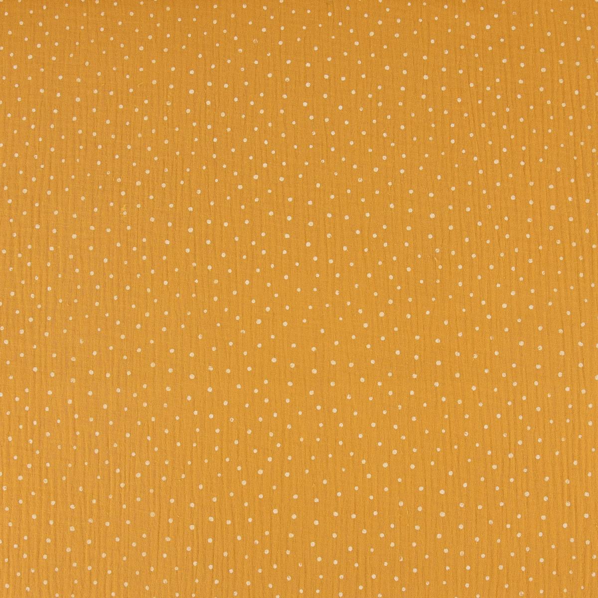 Bekleidungsstoff Double Gauze Musselin Punkte petrol gold 1,35m Breite