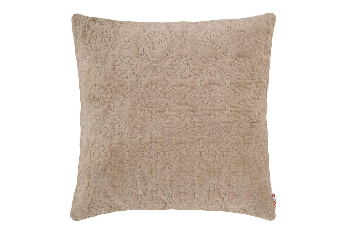 Kissenhülle Fidda Veloursstoff mit Ornament-Steppung einfarbig sand 50x50cm