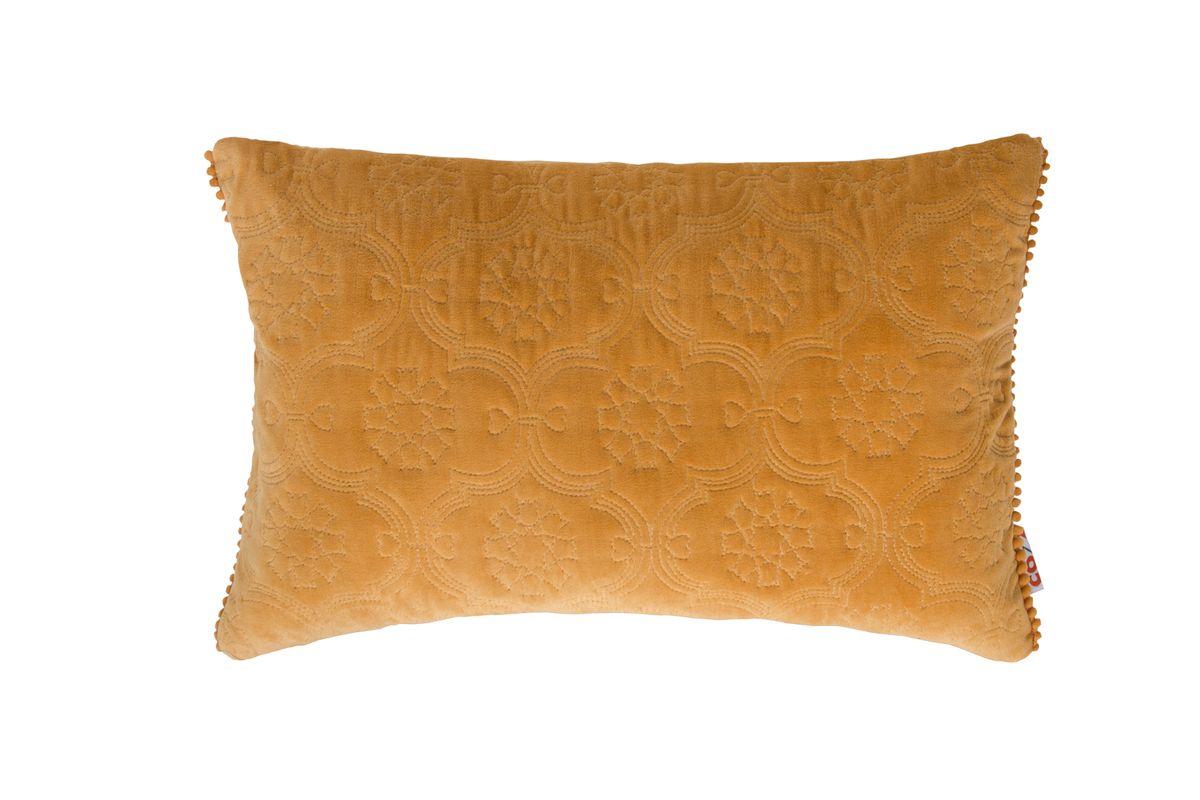 Kissenhülle Fidda Veloursstoff mit Ornament-Steppung einfarbig senfgelb 30x50cm
