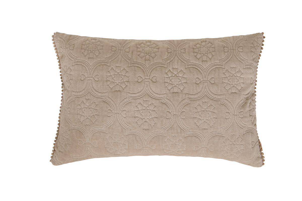 Kissenhülle Fidda Veloursstoff mit Ornament-Steppung einfarbig sand 30x50cm