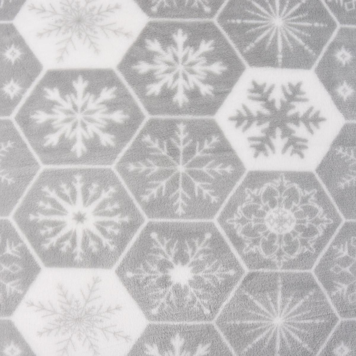 Wellness Fleece Schneeflocke Eiskristalle grau weiß 1,5m Breite