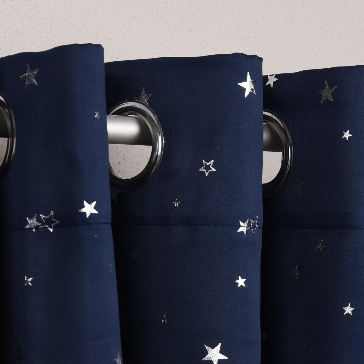 Verdunklungsgardine mit Ösenaufhängung dunkelblau mit silberfarbigen Sternchen 135x225cm