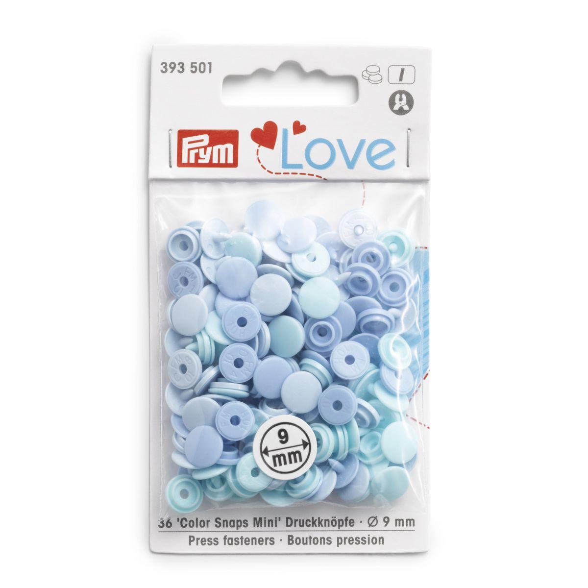 Prym Color Snaps Mini Druckknöpfe Kunststoff 9mm 36 Stück hellblau