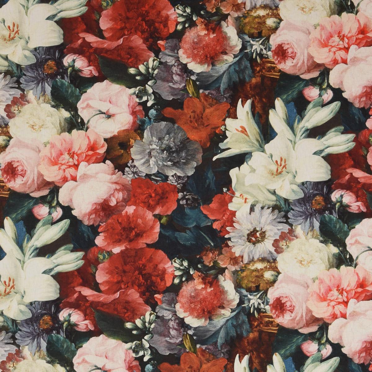 Blumen blau-hautfarben 140cm Baumwolldruck