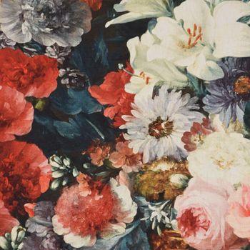 natur-mehrfarbig 140cm Halbpanama Dekostoff Rosen