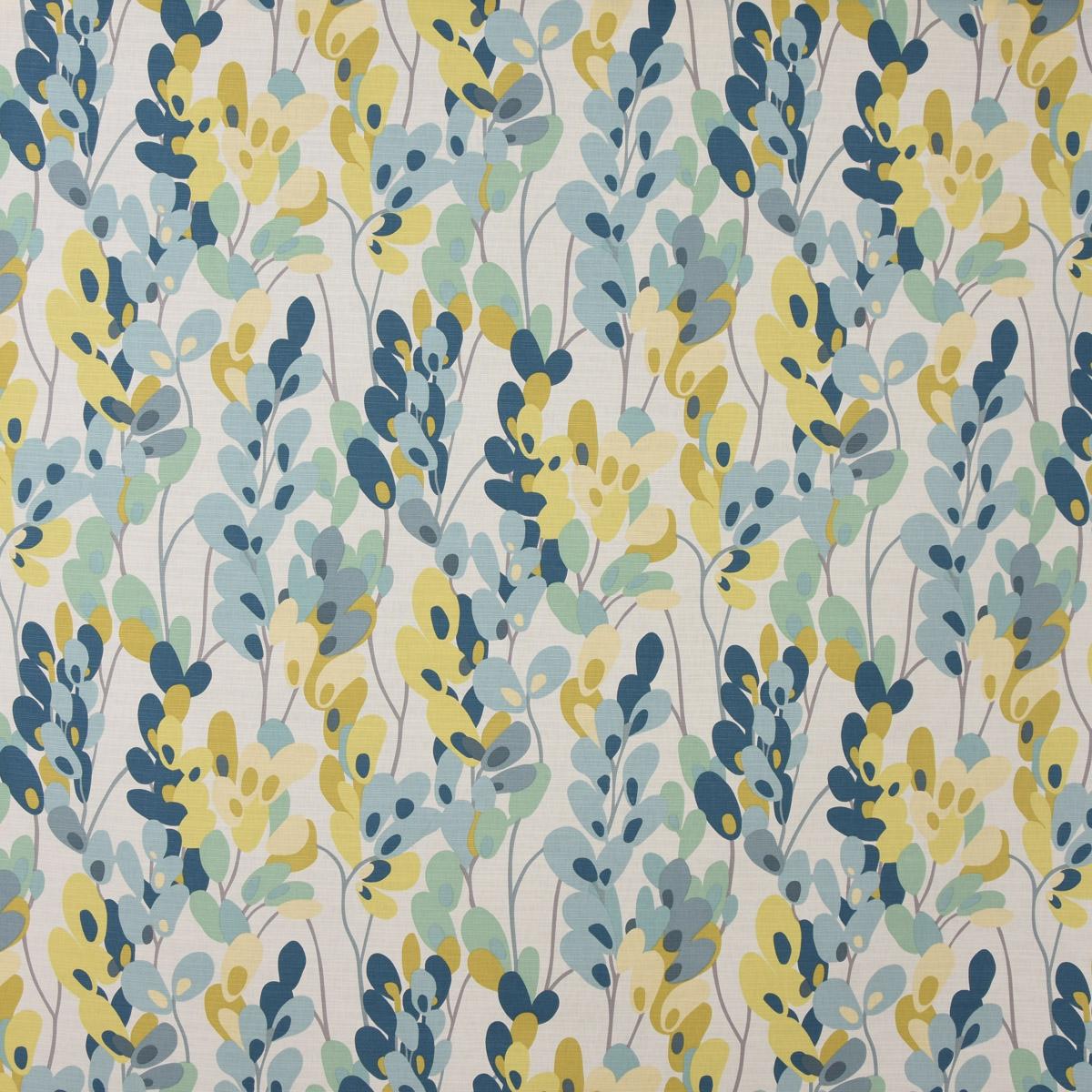 Panama Dekostoff Baumwollstoff Twirl Lemon Zest Zweige Blätter weiß grün blau 1,38m Breite