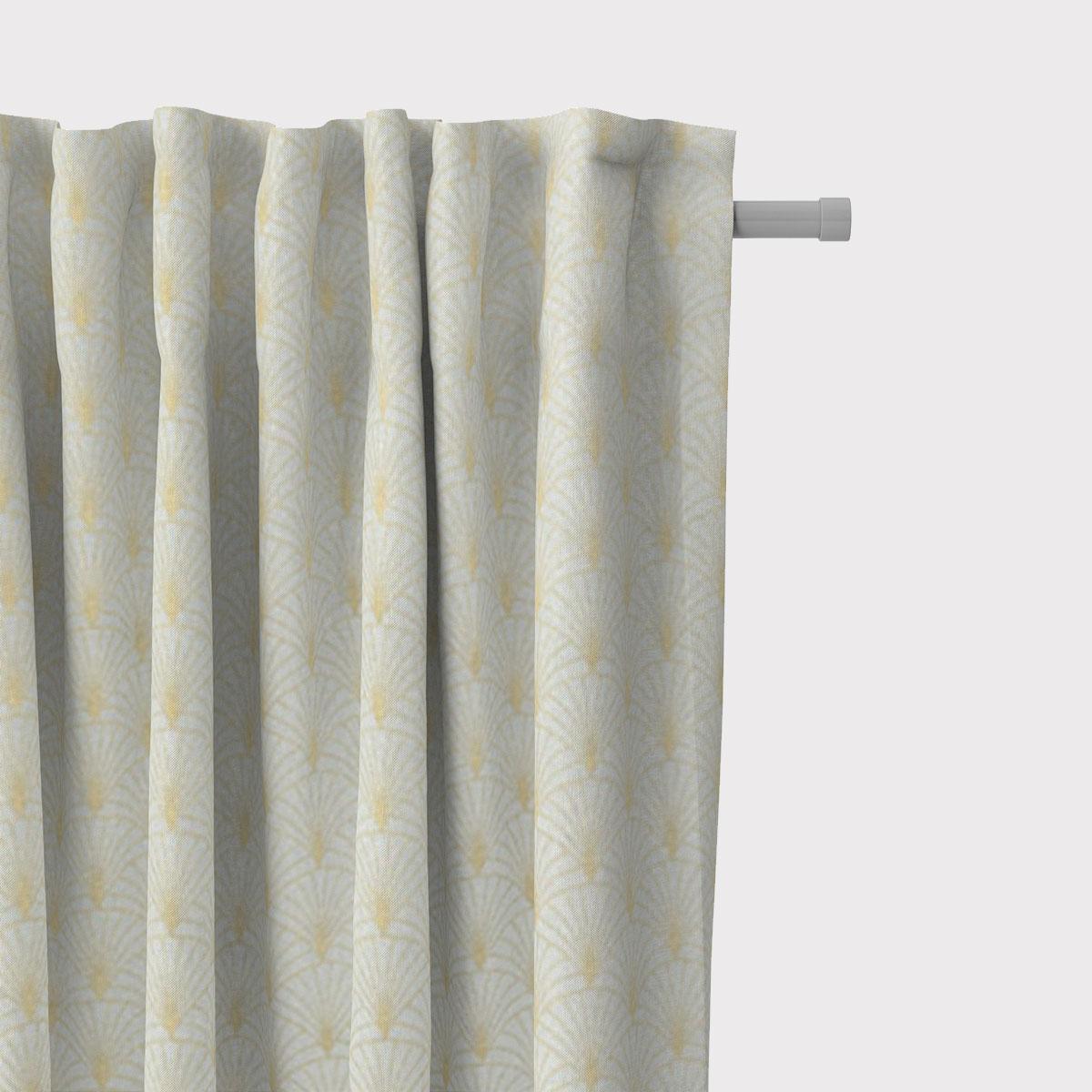 SCHÖNER LEBEN. Vorhang Glamour Schuppen Fächer mint goldfarbig 245cm oder Wunschlänge