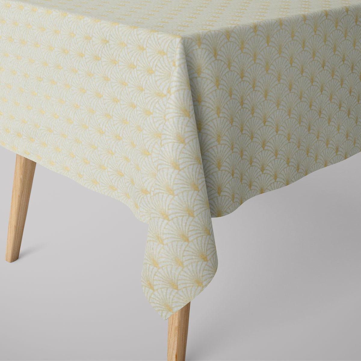 SCHÖNER LEBEN. Tischdecke Glamour Schuppen Fächer mint goldfarbig verschiedene Größen