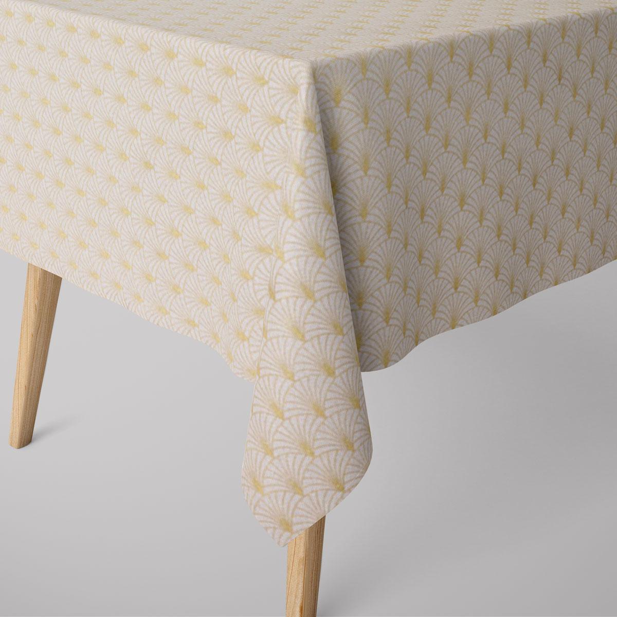 SCHÖNER LEBEN. Tischdecke Glamour Schuppen Fächer creme goldfarbig verschiedene Größen