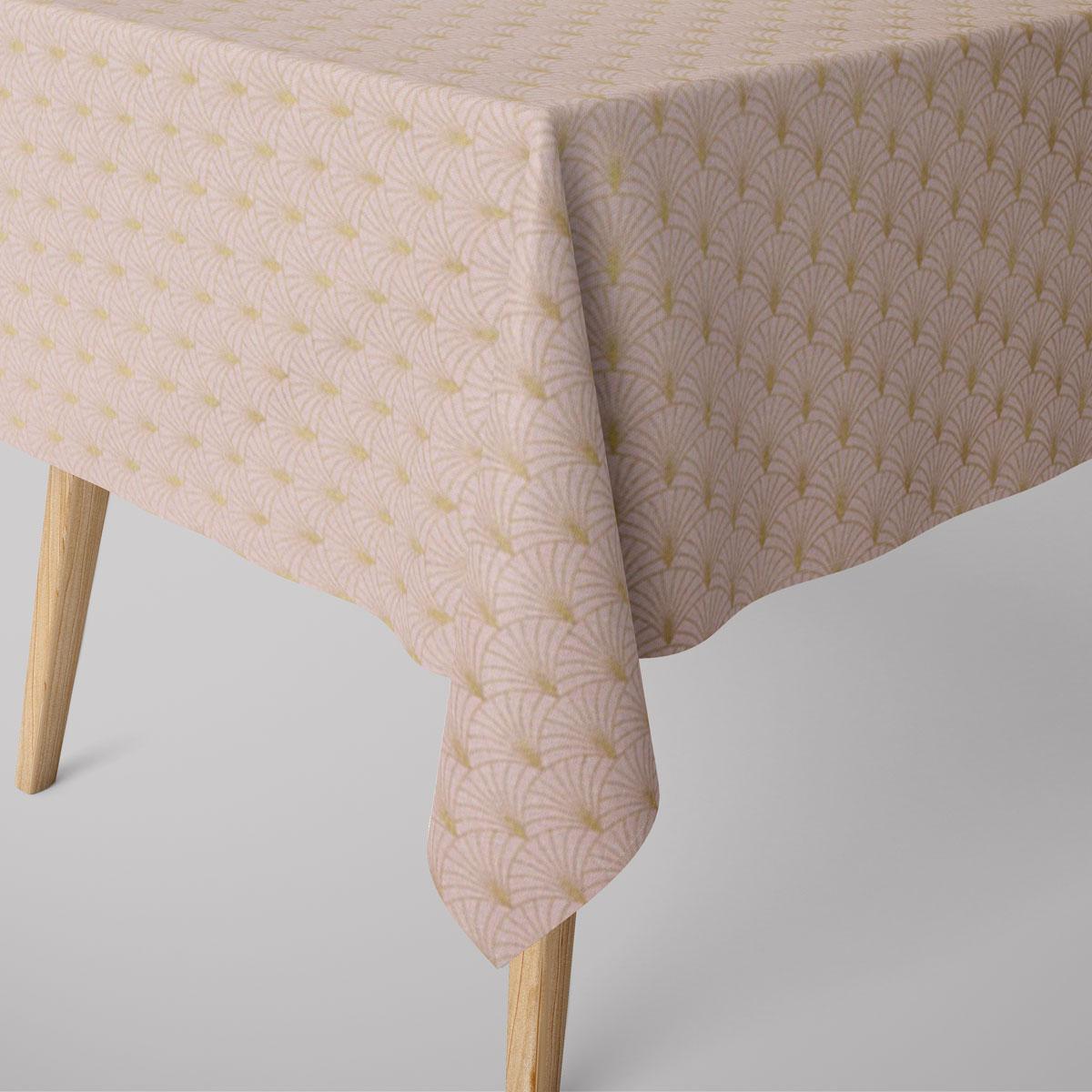 SCHÖNER LEBEN. Tischdecke Glamour Schuppen Fächer rosa goldfarbig verschiedene Größen