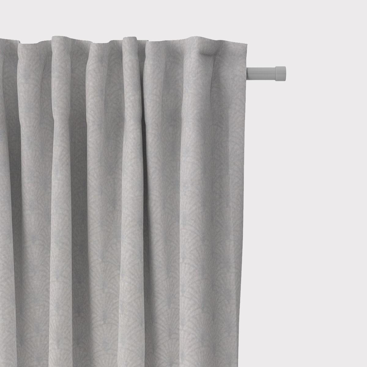 SCHÖNER LEBEN. Vorhang Glamour Schuppen Fächer hellgrau silberfarbig 245cm oder Wunschlänge