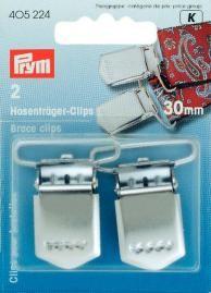 Prym 2 Hosenträger Clips Verschuß silberfarbig 30mm