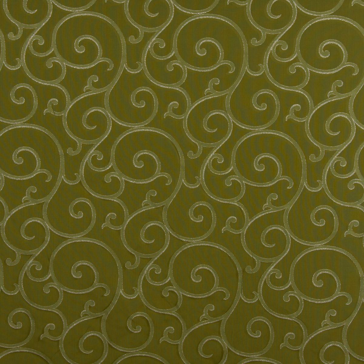 Dekostoff Weihnachten Ornamente Schnörkel Lurex grün silberfarbig 1,40m Breite