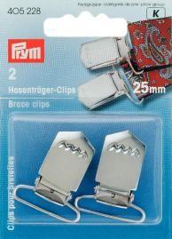 Prym 2 Hosenträger Clips Verschluß silberfarbig 25mm