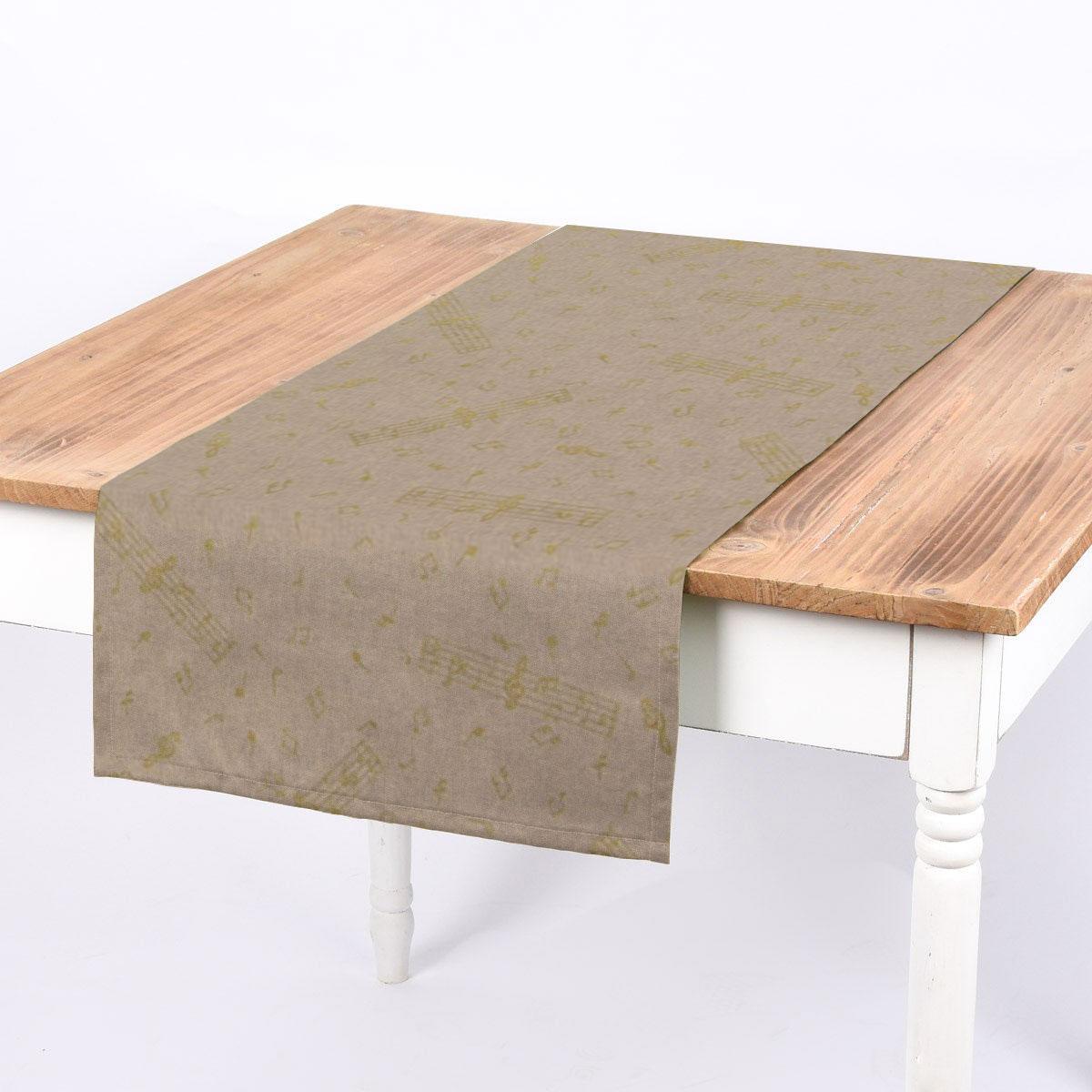 SCHÖNER LEBEN. Tischläufer Noten natur gold 40x160cm