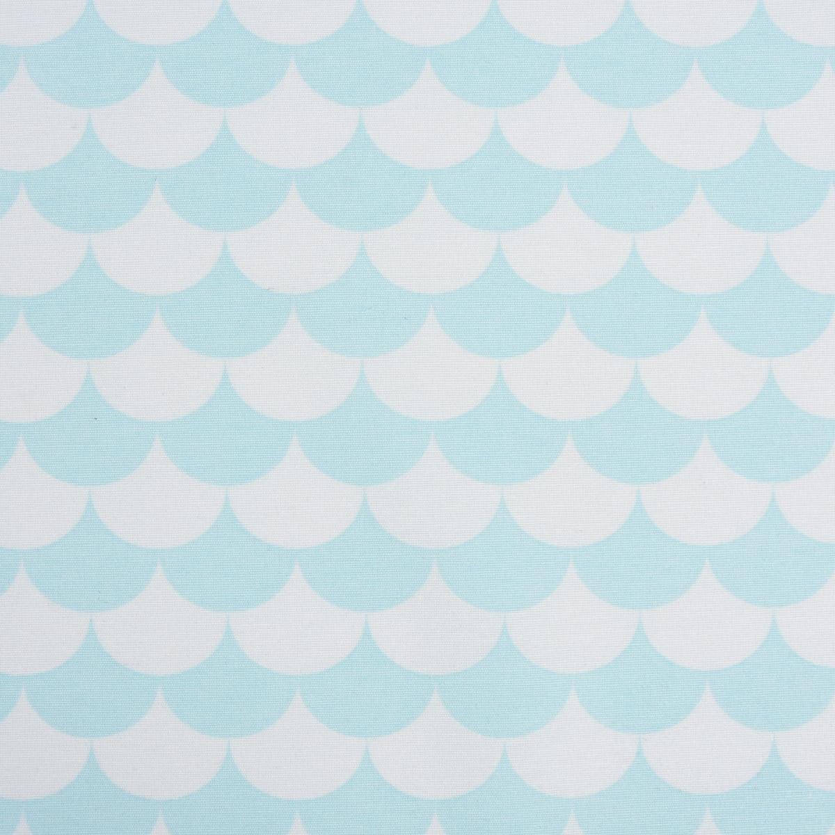 Gardinenstoff Dekostoff Wellen Schuppen blau hellblau 1,4m Breite