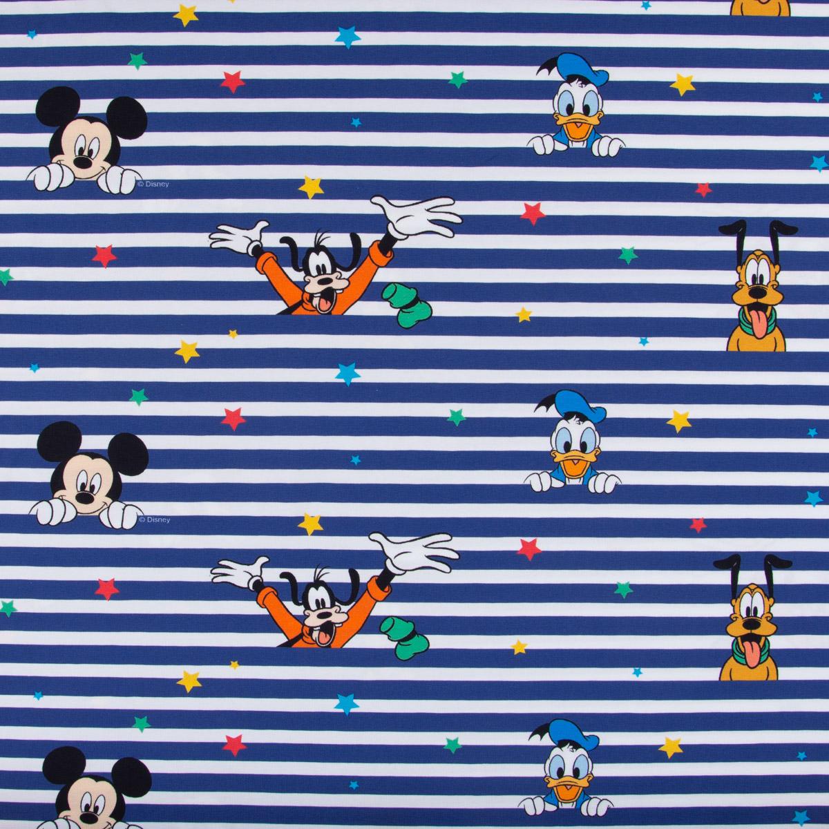 Baumwolljersey Digitaldruck Disney Micky Maus und Freunde weiß blau bunt 1,5m Breite