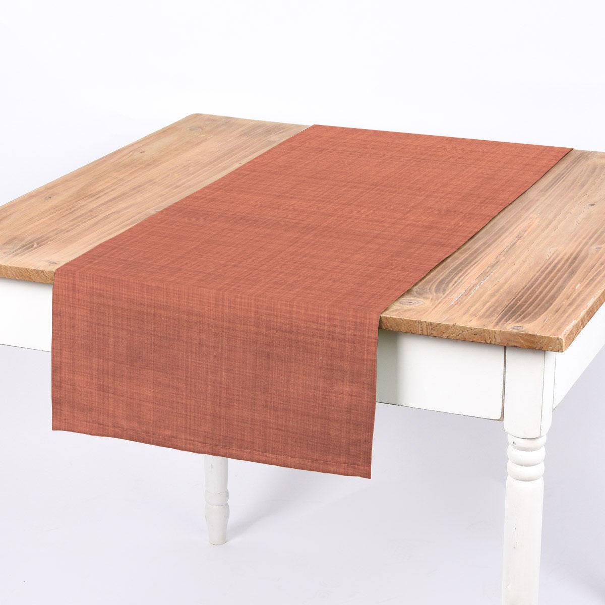 SCHÖNER LEBEN. Tischläufer uni terracotta meliert 40x160cm