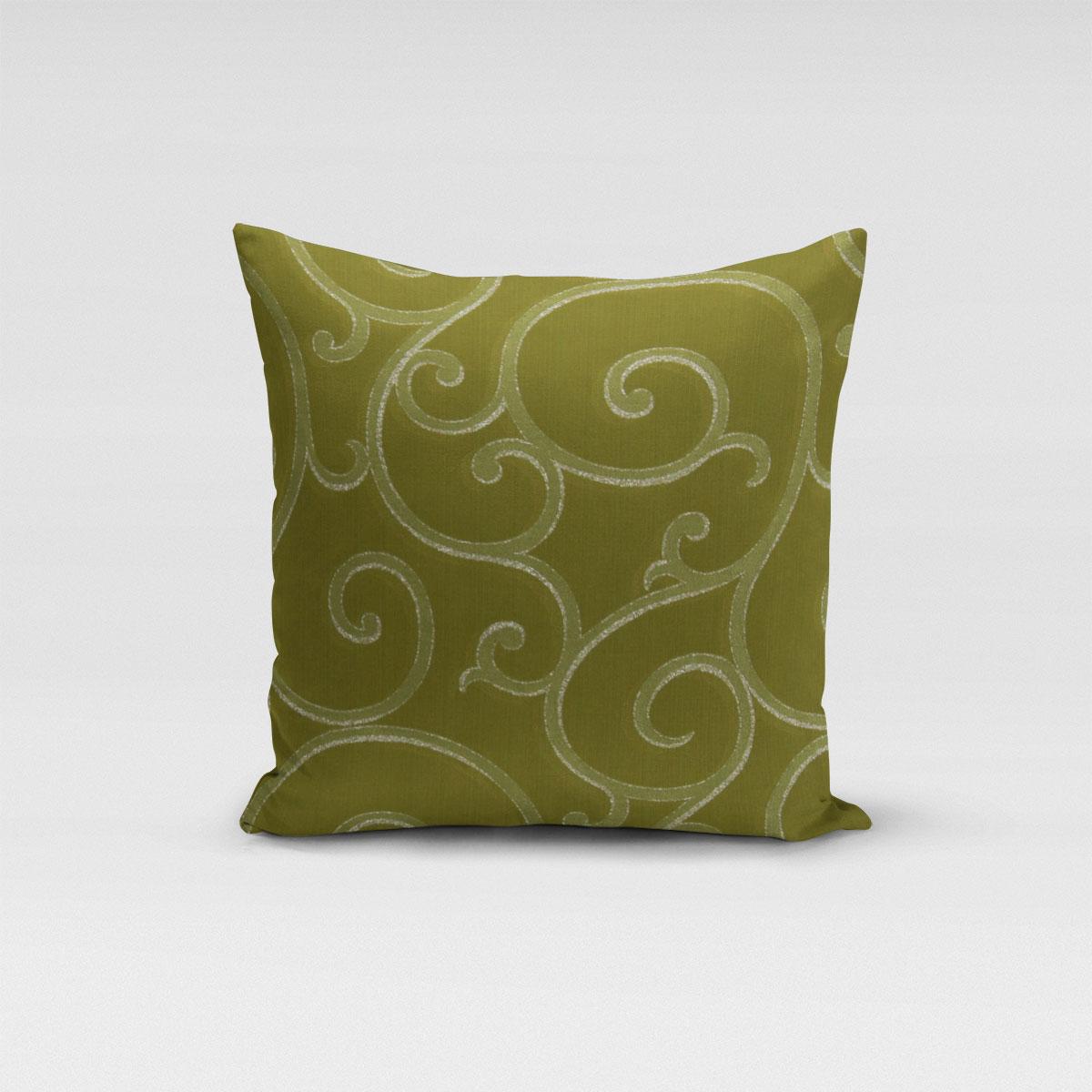 SCHÖNER LEBEN. Kissenhülle Ornamente Schnörkel Lurex grün silberfarbig verschiedene Größen