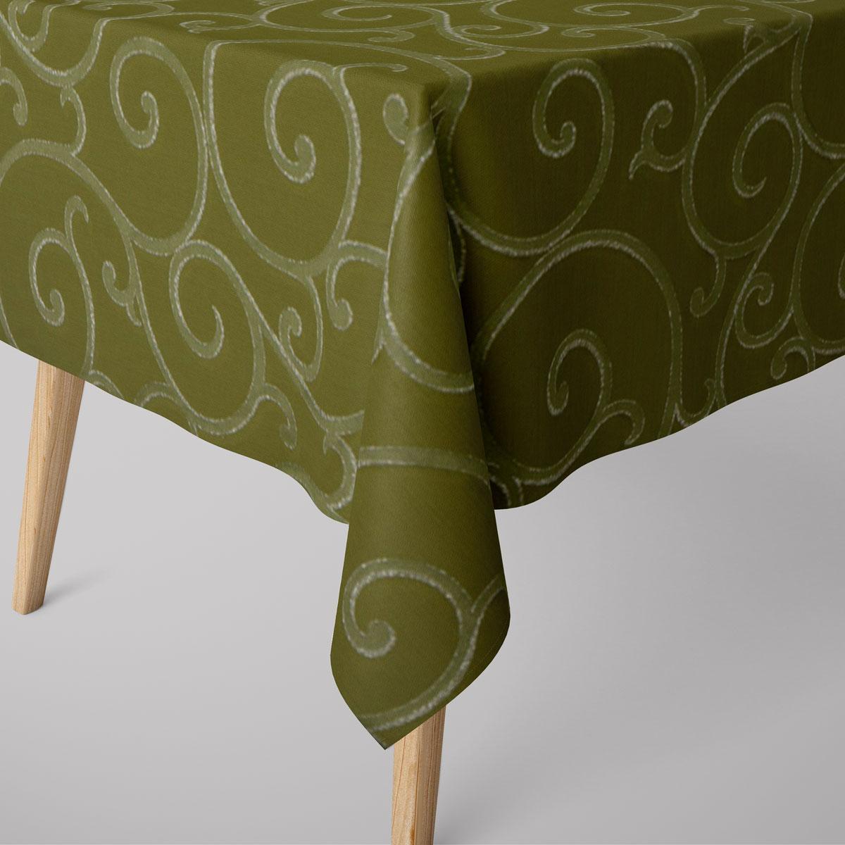 SCHÖNER LEBEN. Tischdecke Ornamente Schnörkel Lurex grün silberfarbig verschiedene Größen