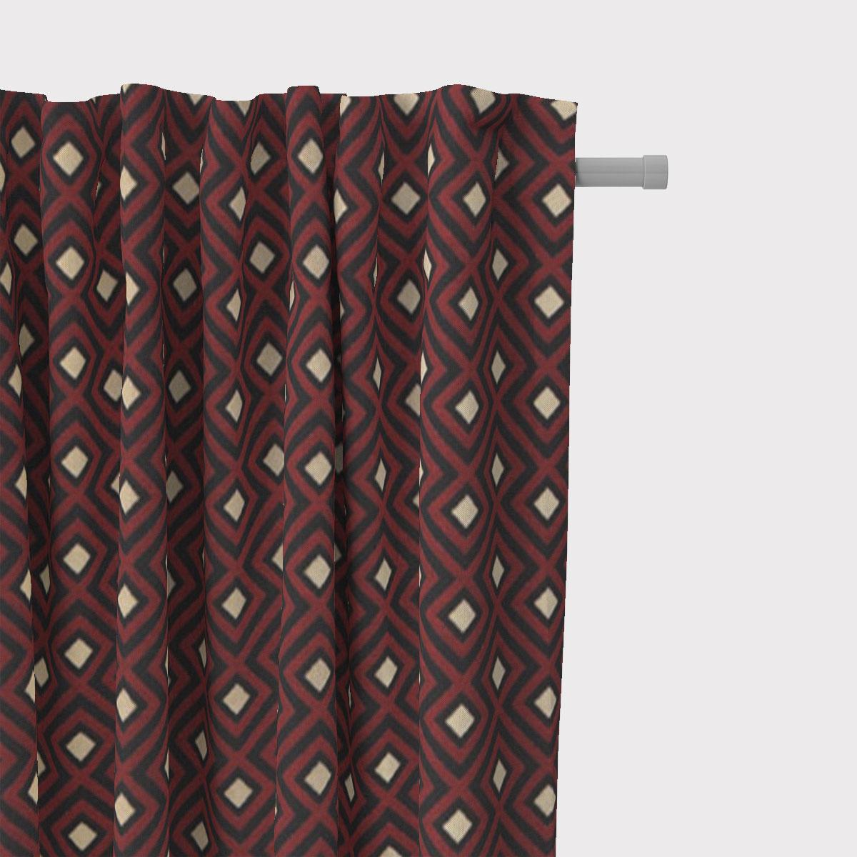 SCHÖNER LEBEN. Vorhang Art Deco Rauten Retro rot schwarz goldfarbig 245cm oder Wunschlänge