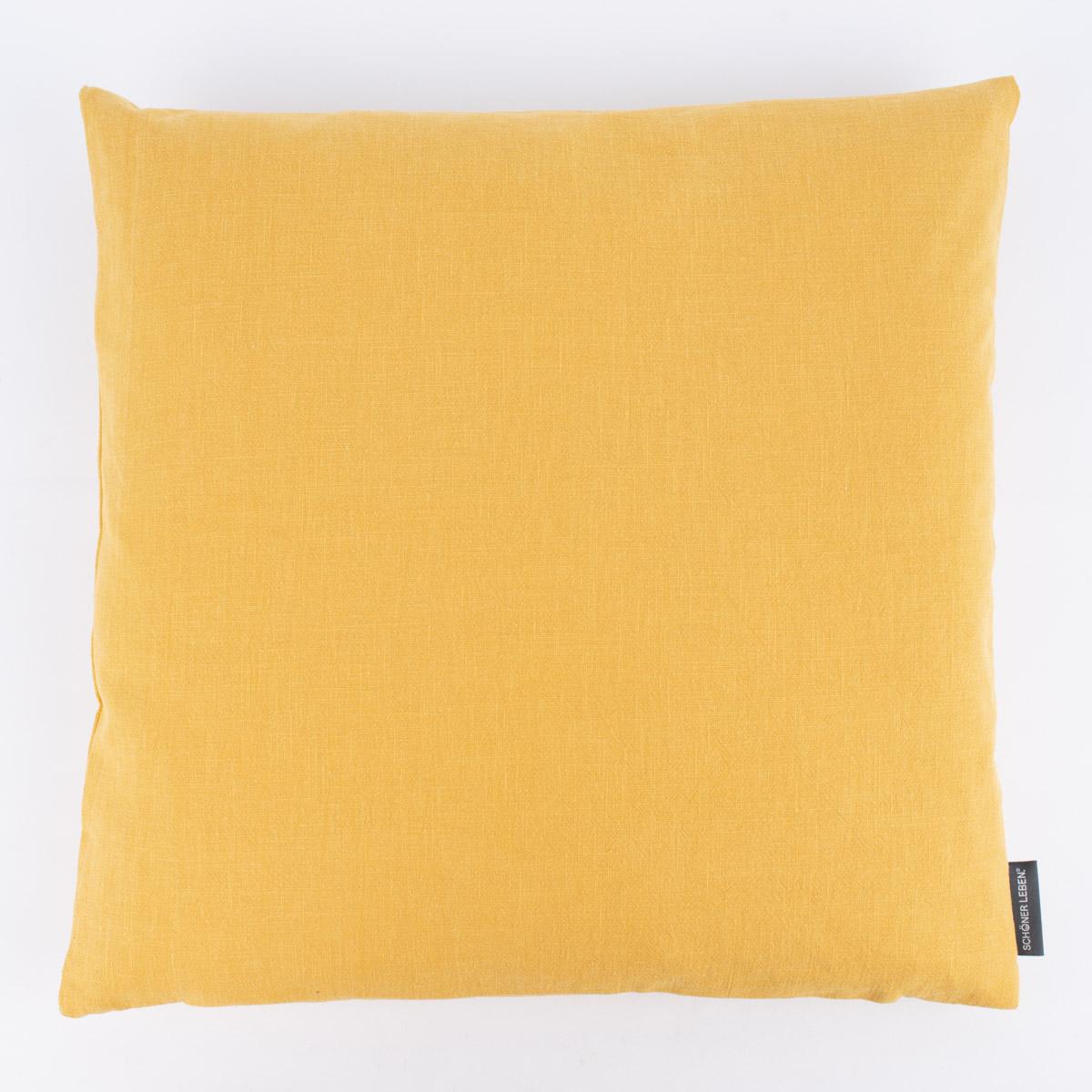 SCHÖNER LEBEN. Kissenhülle Bio Ramie Leinenoptik einfarbig senf gelb 40x40cm