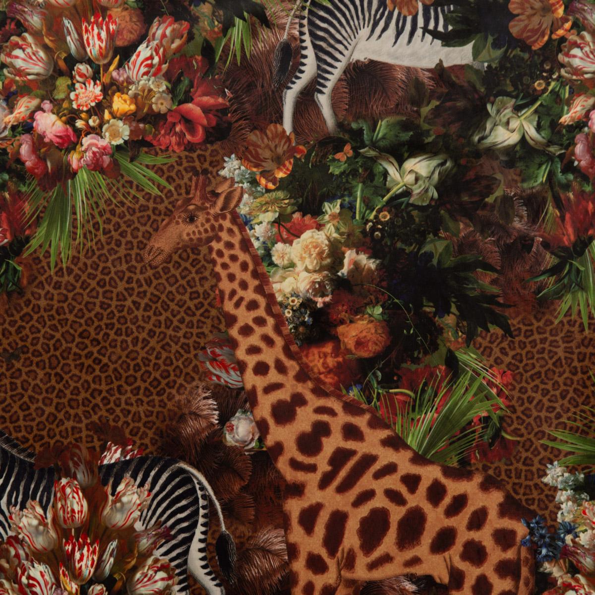Samtstoff Dekostoff Velvet Deluxe Samt Zebra Giraffe Blumen braun bunt 1,4m Breite