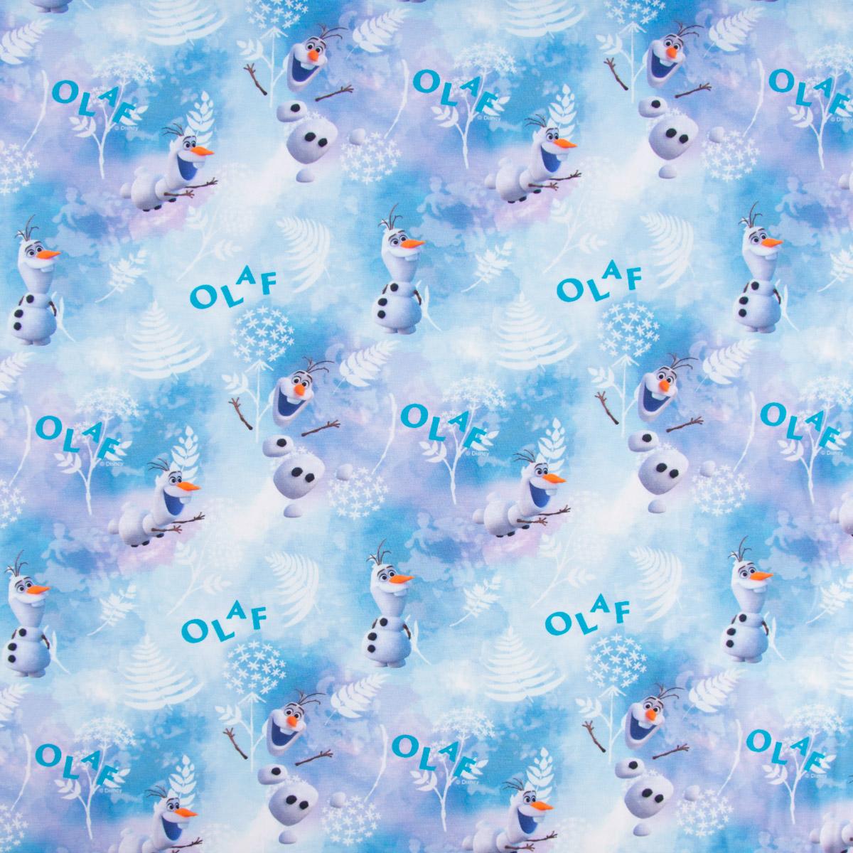 Baumwolljersey Digitaldruck Frozen Die Eiskönigin Olaf Schneemann blau weiß 1,5m Breite