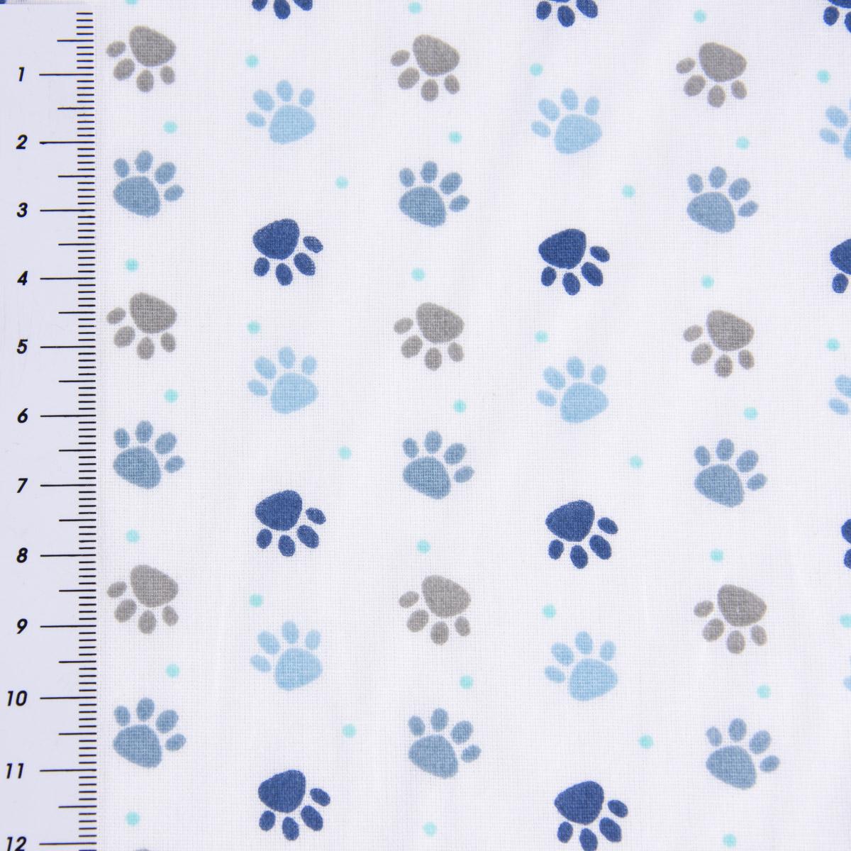 Baumwollstoff Pfoten Tatzen Abdrücke weiß grau blau Töne 1,4m Breite