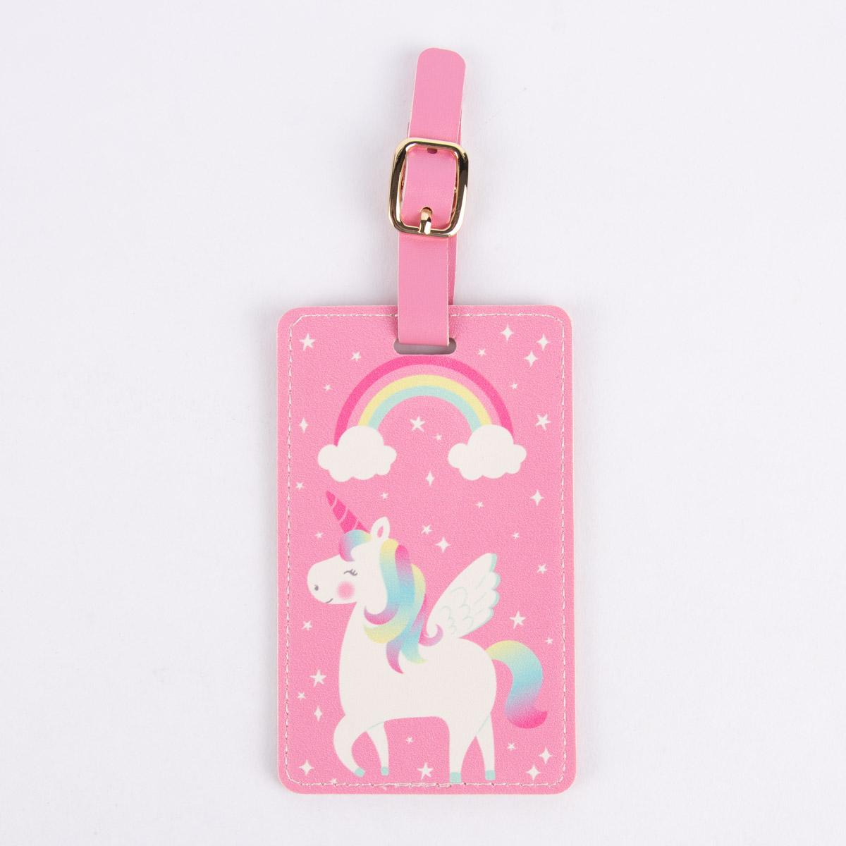 Sass & Belle Gepäckanhänger Einhorn pink bunt 7x11,5cm