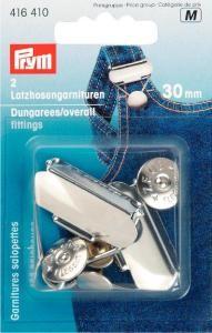 Prym 2 Latzhosen Verschluß Garnituren silberfarbig 30mm