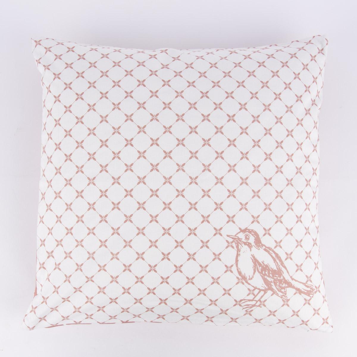 Clayre & Eef Wende-Kissenhülle Vögel Blumen rosa weiß 50x50cm