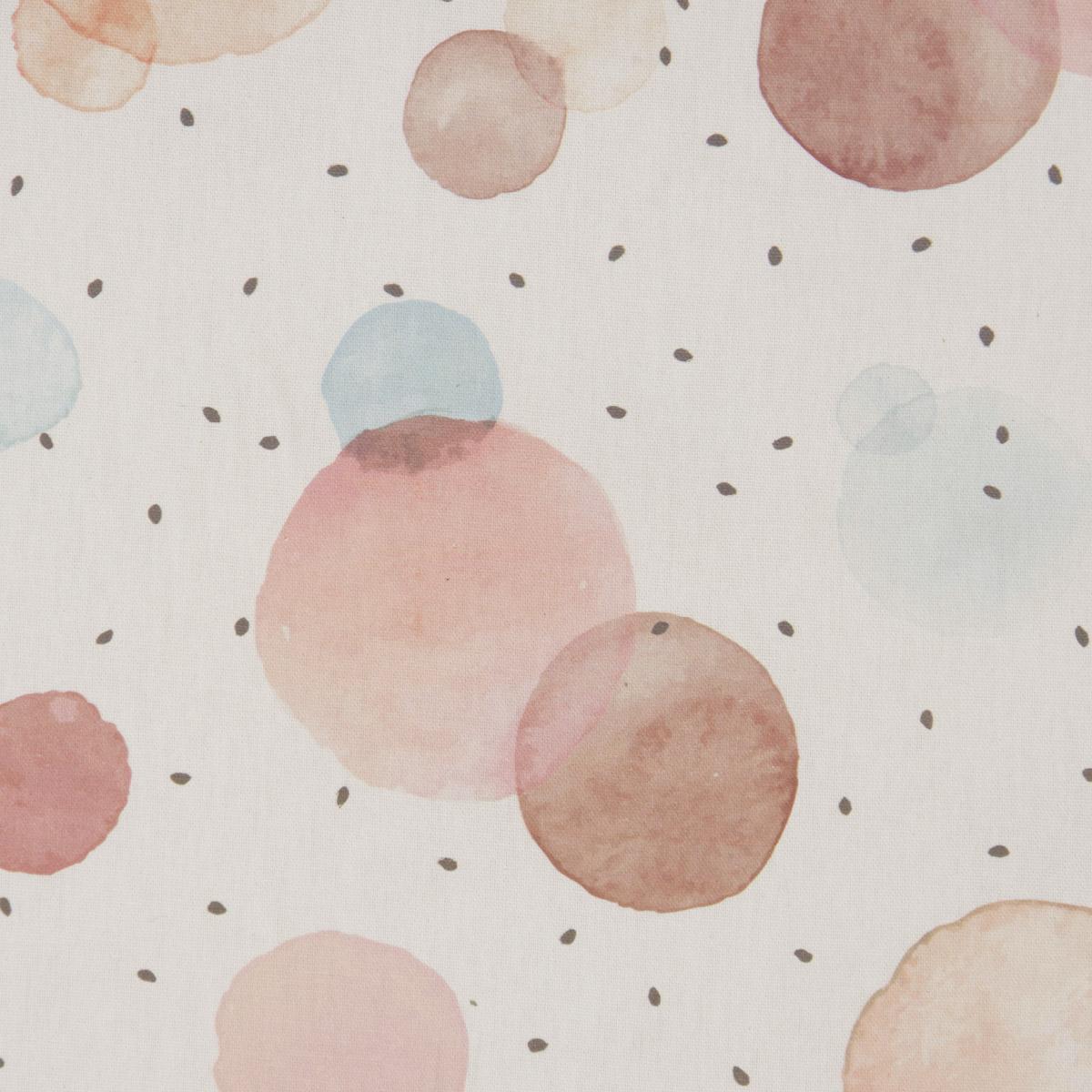Dekostoff Baumwollstoff Halbpanama wollweiß mit Kreisen Aquarell-Tupfen pastell raumhoch 2,80m Breite