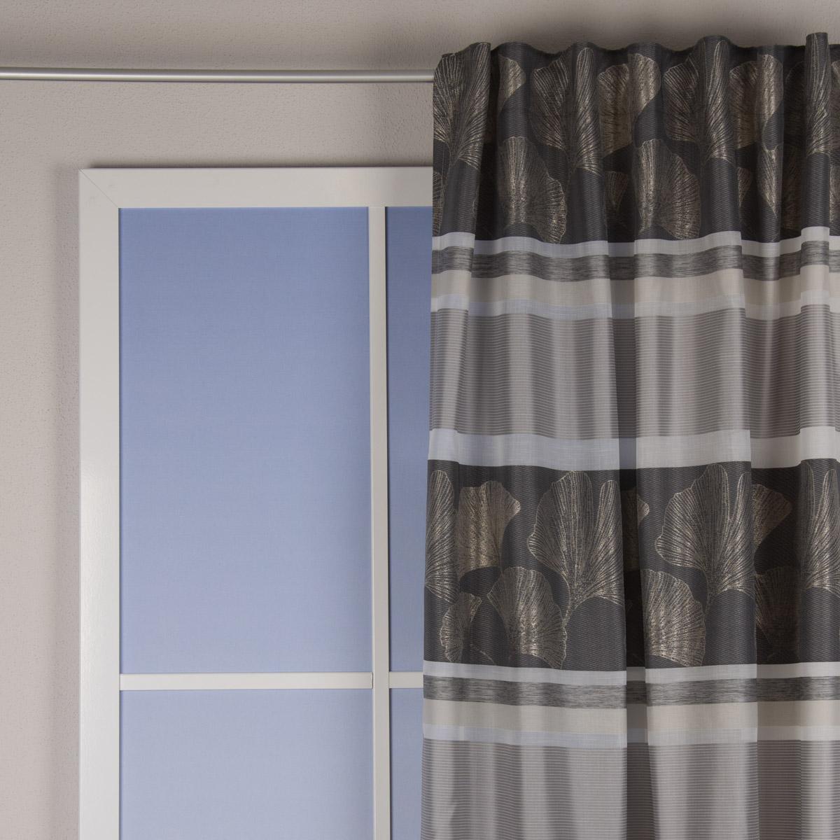 Fertigschal mit Schlaufenband Ginkgo Jacquardgewebe und Querstreifen grau weiß beige 140x245cm