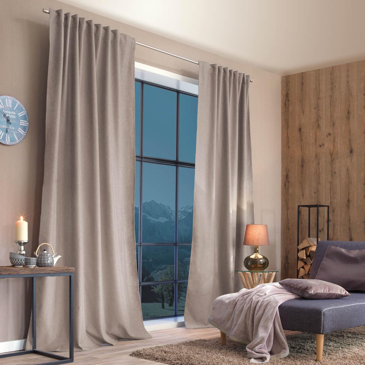 Thermo Vorhang mit Schlaufenband Kälte- und Hitzeschutz einfarbig natur grau 135x245cm