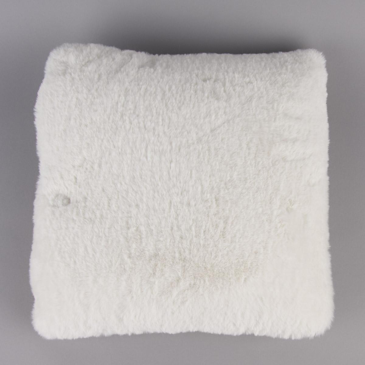 Deko Kuschelkissen Plüsch einfarbig weiß 45x45cm
