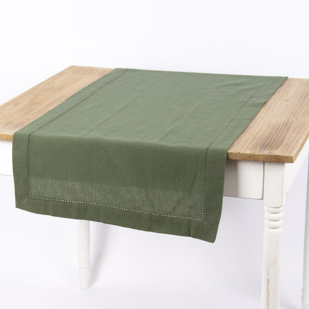 Linen & More Tischläufer Indi einfarbig army grün 50x140cm
